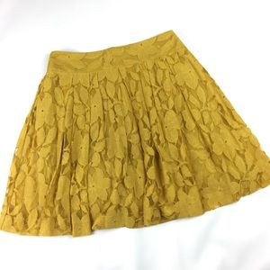 LOFT Mustard Yellow Floral Lace Skirt pleated